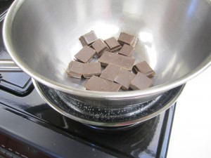 Bowl of chocolate in skillet with water