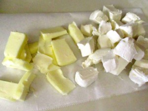 cubed butter and cream cheese