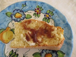 Slice with butter and apple butter